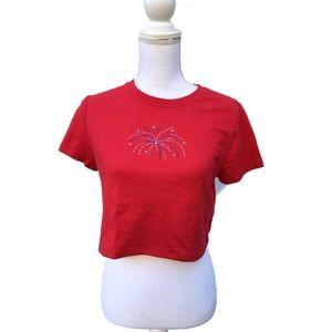 Vintage Tops - 90s Red Rhinestone Firework Short Sleeve Crop Top
